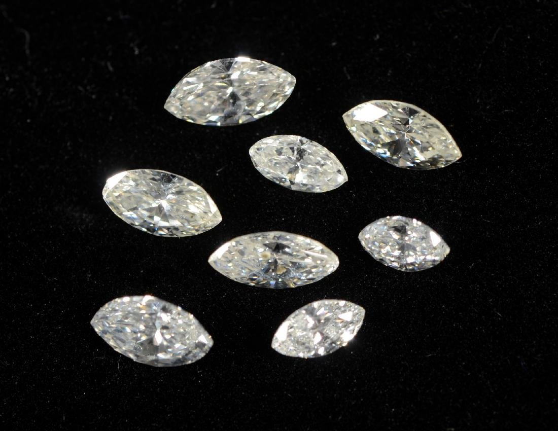 8 mixed size marquise cut diamonds, 1.02 carats TDW