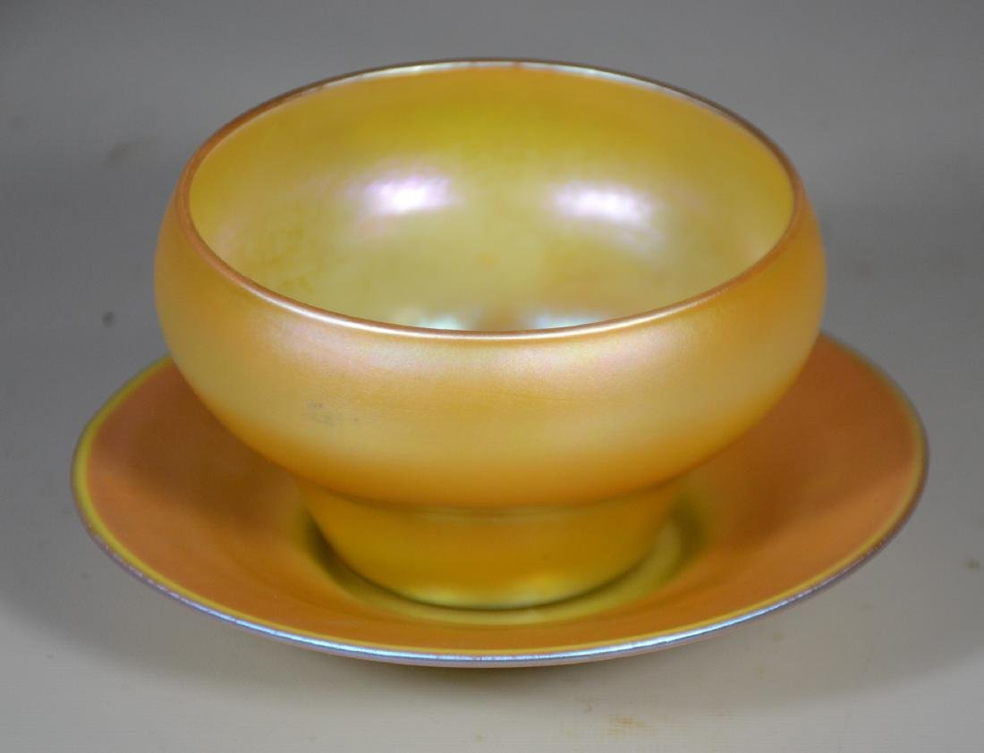 Quezal Gold Aurene Glass Bowl with Under Plate - 2