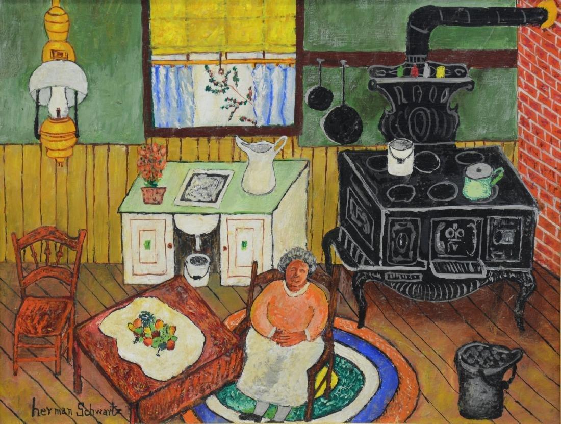 Herman Schwartz, American, PA, Naive Oil Painting