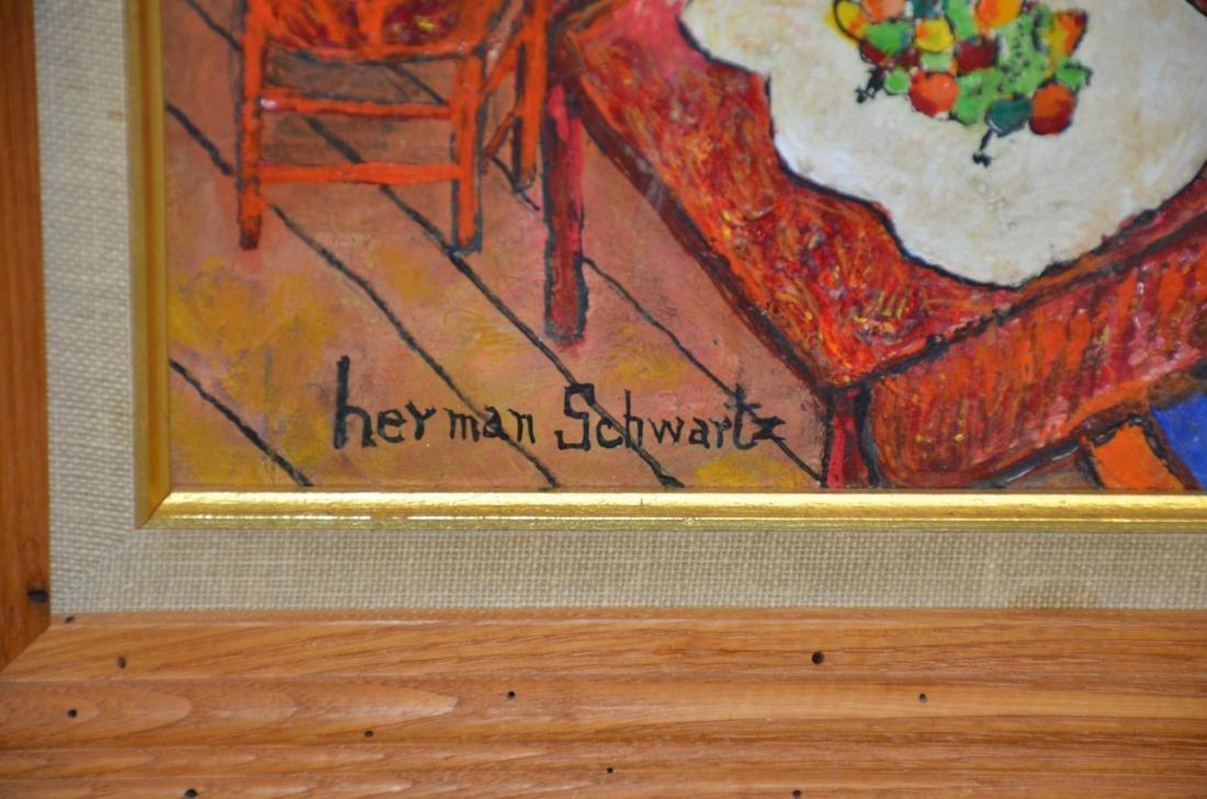Herman Schwartz, American, PA, Naive Oil Painting - 3