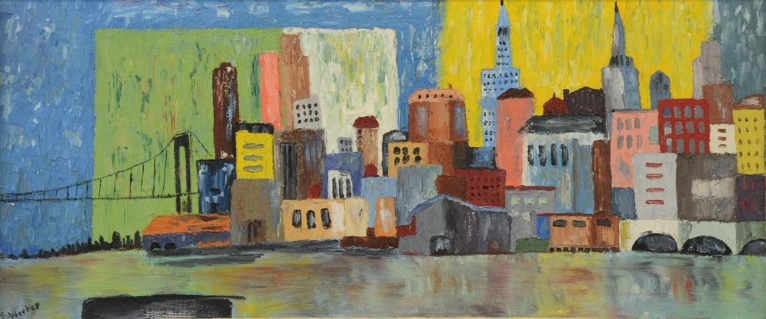 Mid Century Modern Cityscape Oil Painting