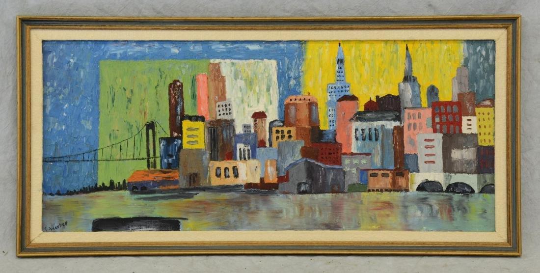 Mid Century Modern Cityscape Oil Painting - 2