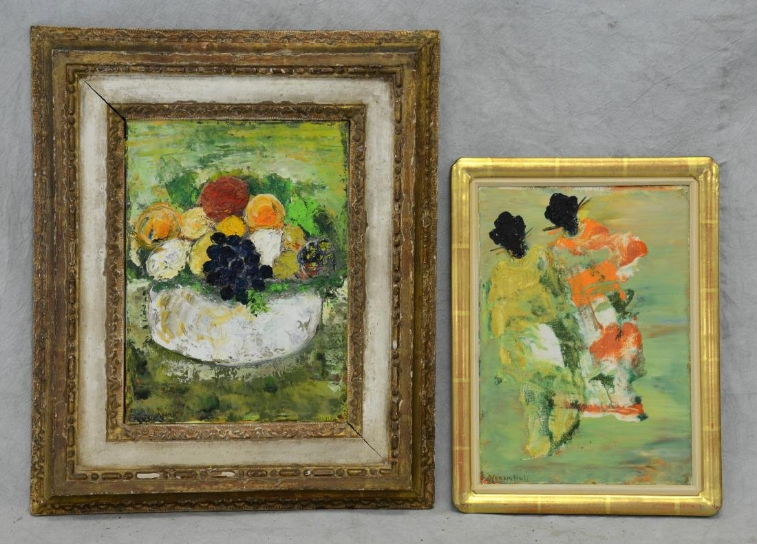 2 Mid Century Oil Paintings Signed Hull