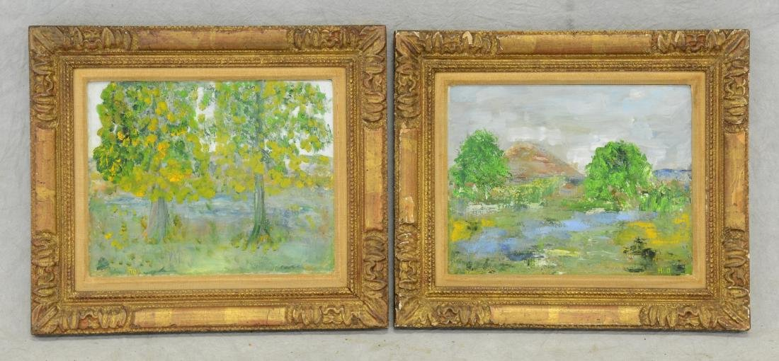 2 Mid Century Landscape Paintings signed Hull