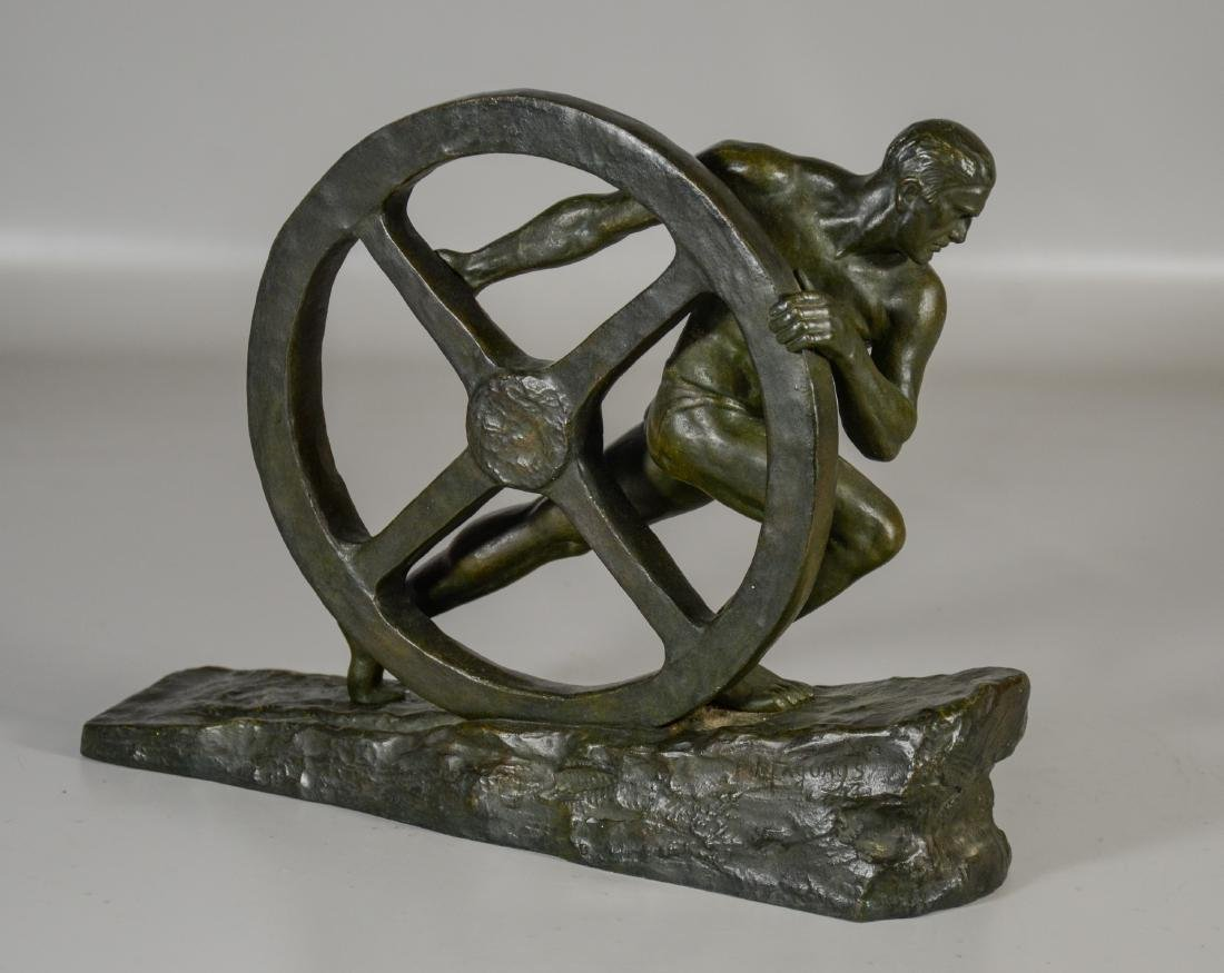 "After Pierre Le Faguays, French, Bronze, ""The Wheel"""