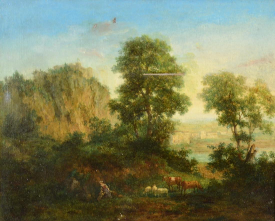 Italian School Shepherdess at Lake Oil on Canvas,