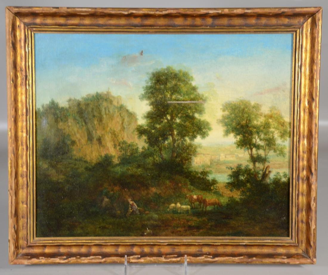 Italian School Shepherdess at Lake Oil on Canvas, - 2
