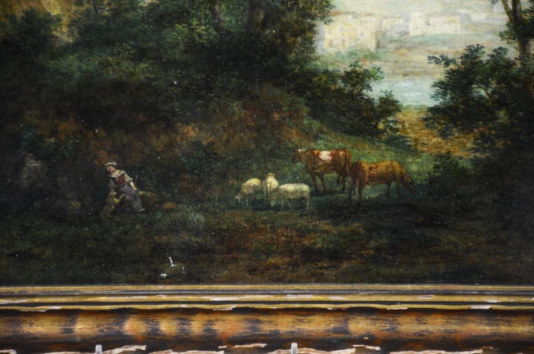 Italian School Shepherdess at Lake Oil on Canvas, - 3