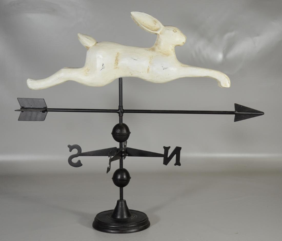 Folk Art Style Rabbit Weathervane, - 2
