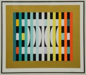 """Yaacov Agam, """"Counter Rhythm 6"""" op art serigraph"""