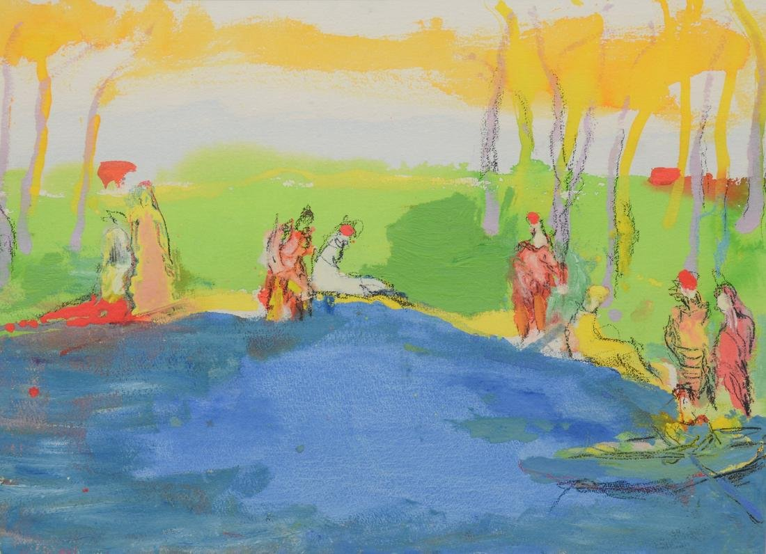 Humbert Howard, acrylic on paper, figures in the park