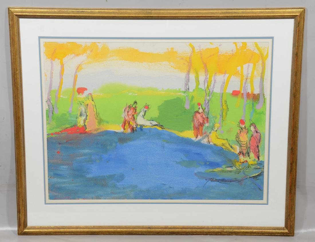 Humbert Howard, acrylic on paper, figures in the park - 2