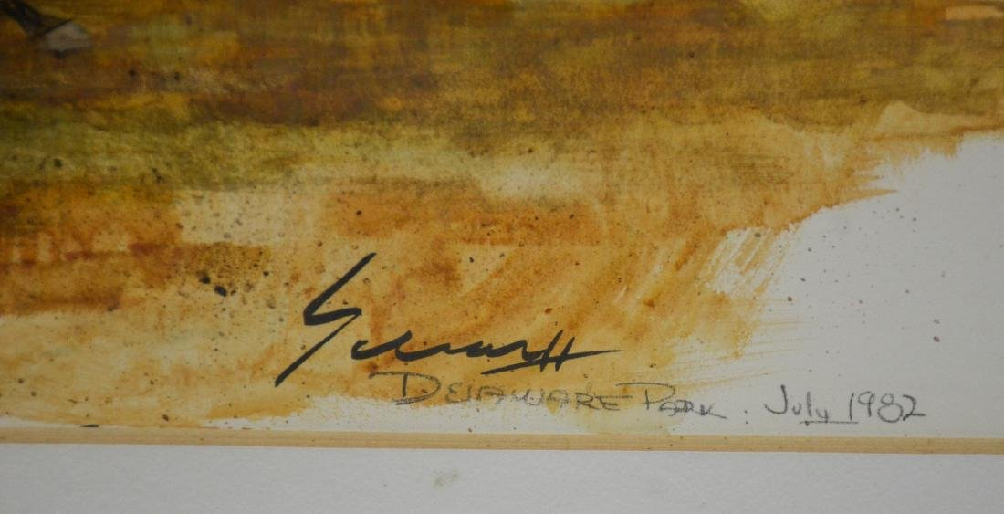 Ralph Scharff, watercolor, Delaware Park July 1982 - 3