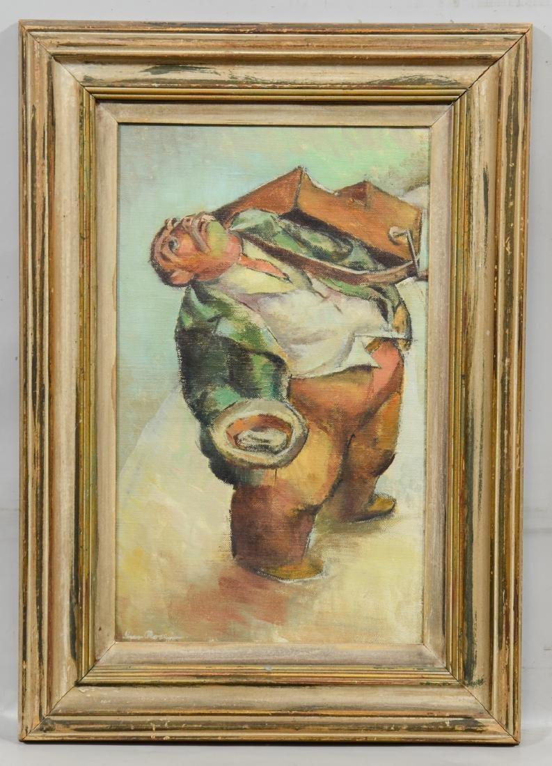 Iver Rose, oil on canvas board, Organ Grinder - 2