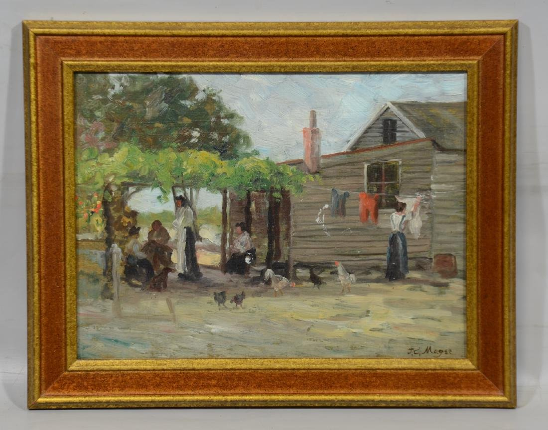 JC Magee, oil on board, Daily Chores - 2
