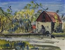 Jack Iowa Lewis, watercolor, The Mill, Delaware