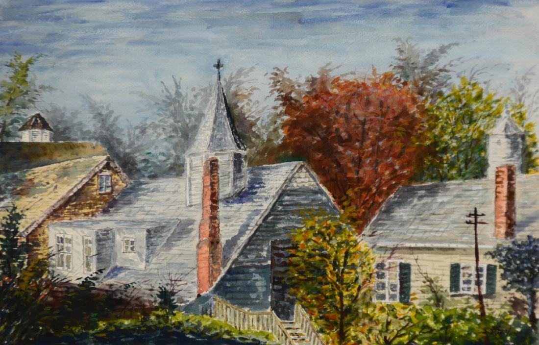Max Kuehne, watercolor, Riverdale Roofs