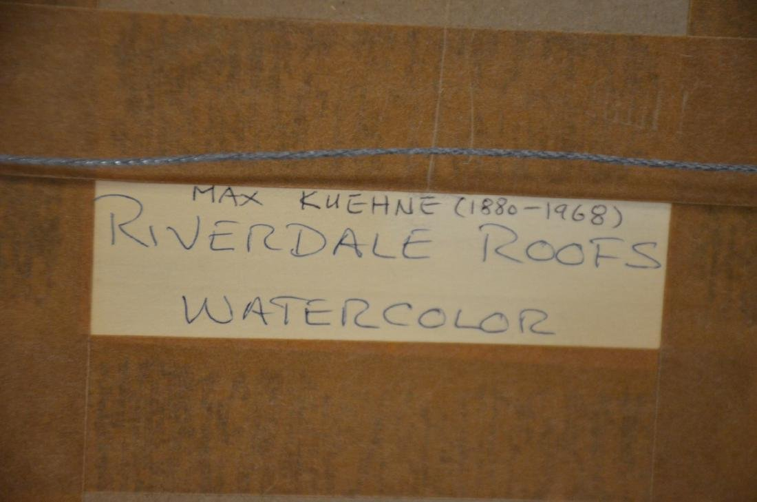 Max Kuehne, watercolor, Riverdale Roofs - 4