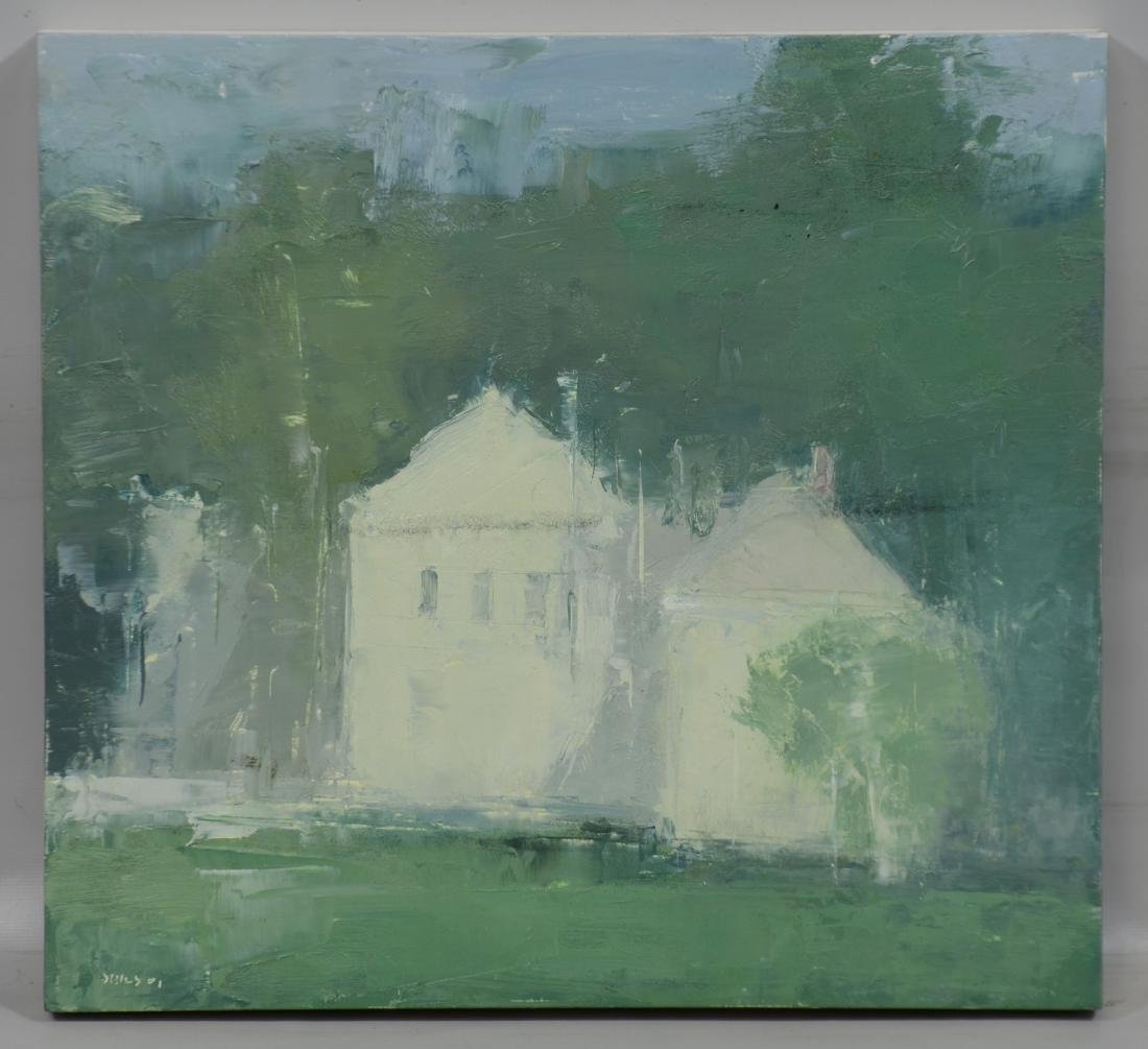 Stuart Shils, abstract landscape with houses