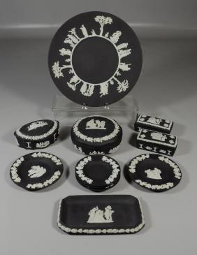 11 Pcs Wedgwood Black Basalt and White porcelain