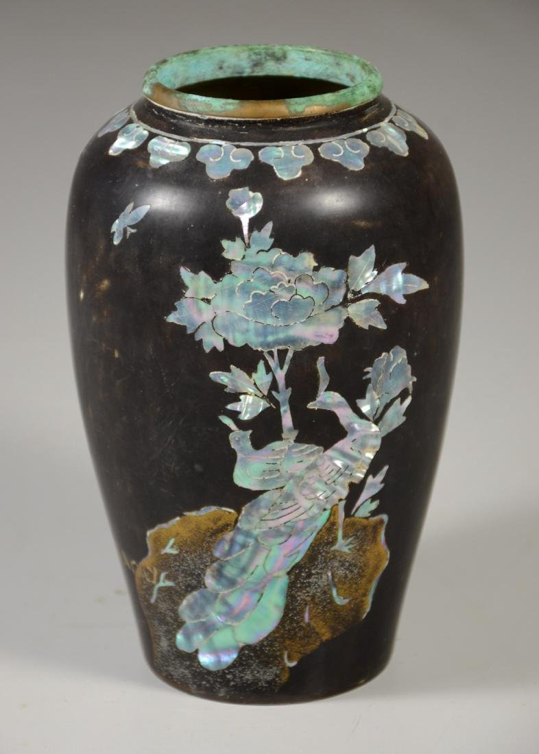 Japanese Mother of Pearl Inlaid Brass Vase