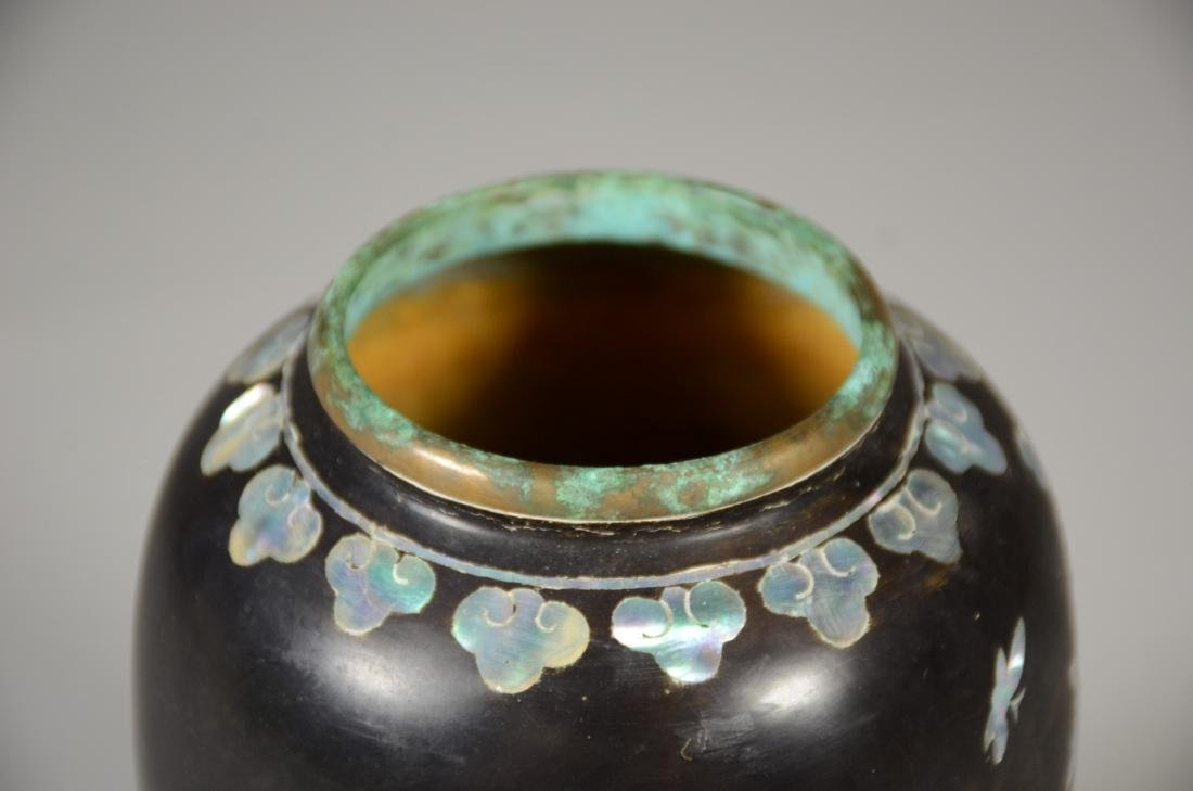 Japanese Mother of Pearl Inlaid Brass Vase - 6