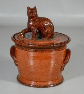 Foltz Pottery PA Redware Covered Pot