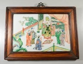 Chinese Famille Verte Porcelain Plaque