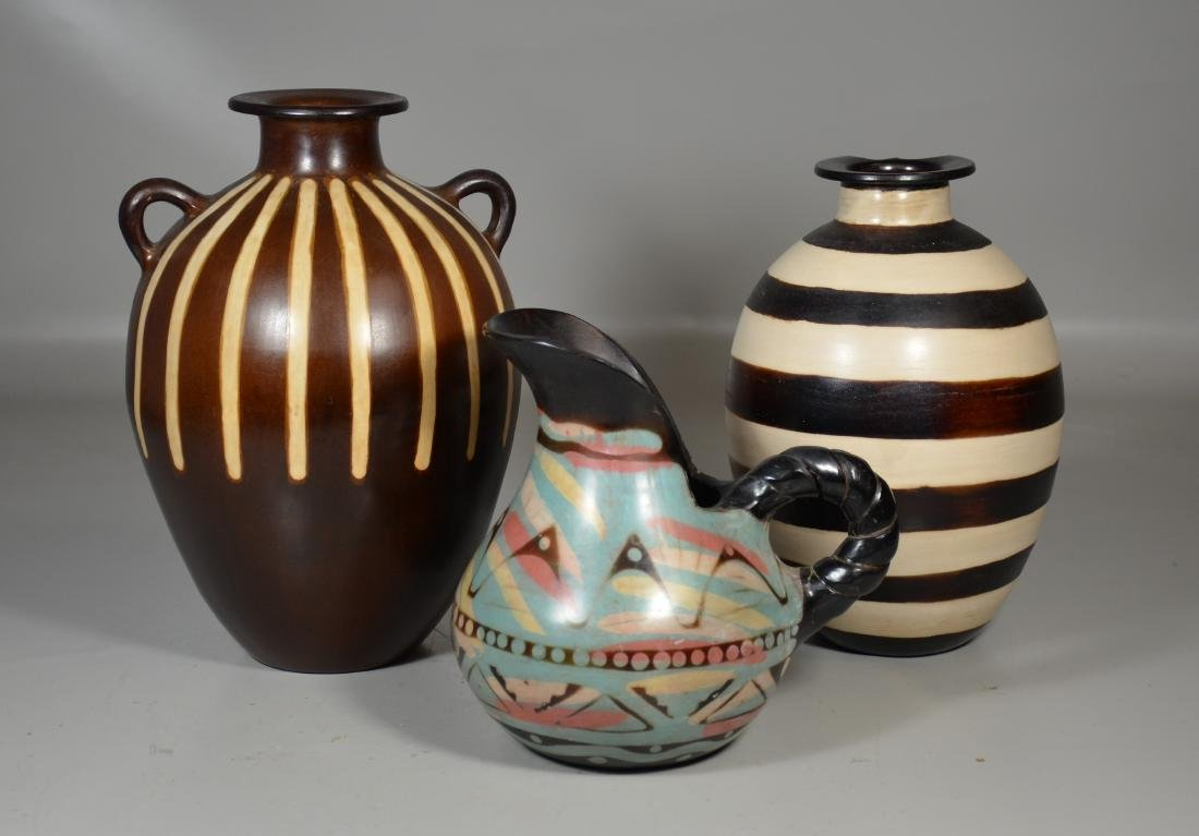 3 Chulucanas Peruvian Pottery Vases