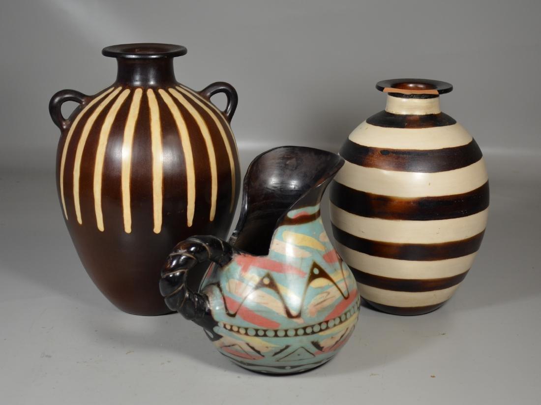 3 Chulucanas Peruvian Pottery Vases - 2