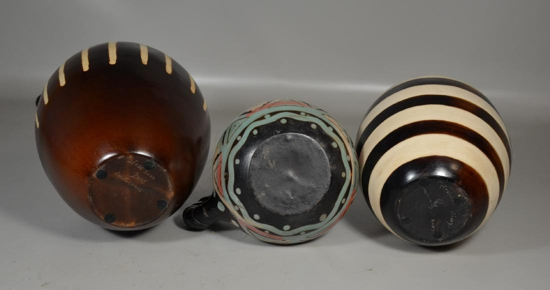 3 Chulucanas Peruvian Pottery Vases - 3