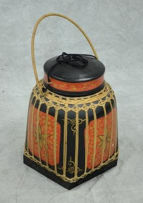 Asian style painted decorative storage box