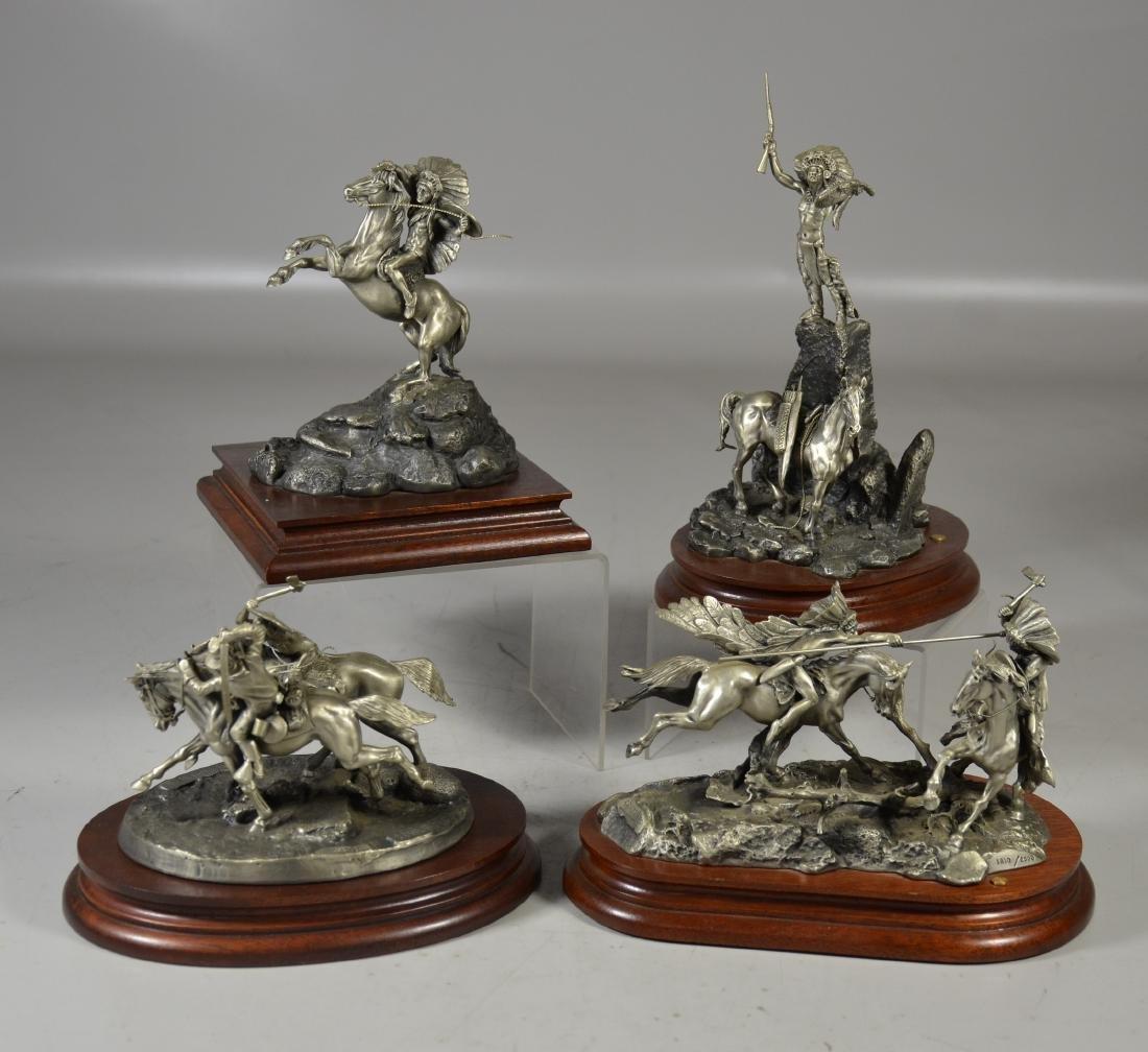 4 Donald Polland Pewter Native American Sculptures