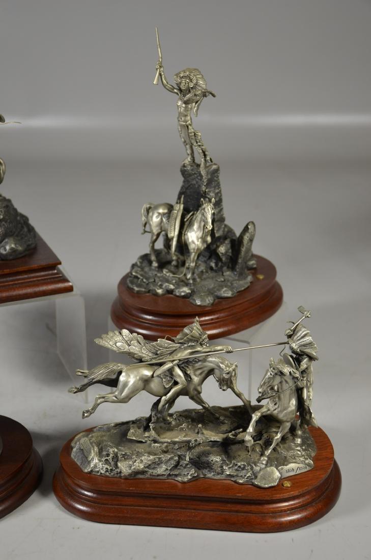 4 Donald Polland Pewter Native American Sculptures - 3