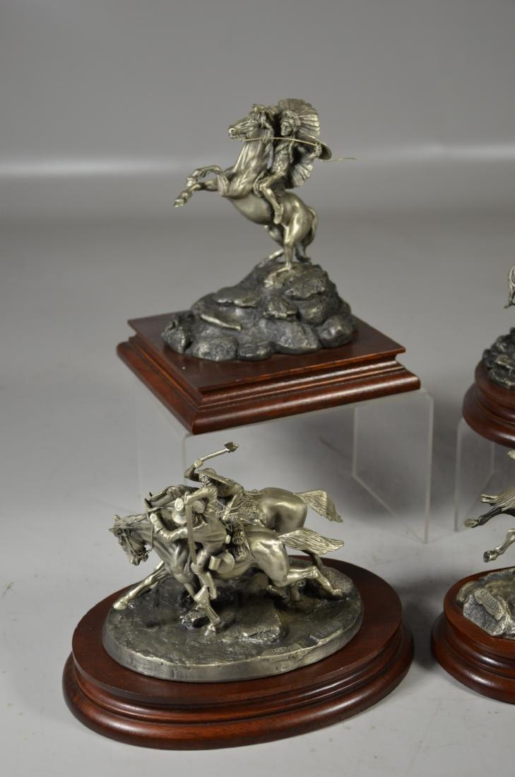 4 Donald Polland Pewter Native American Sculptures - 4
