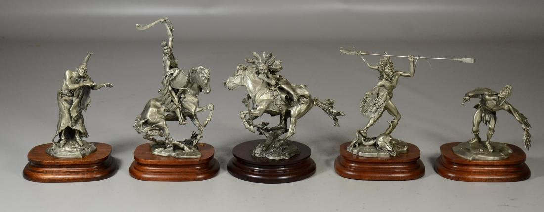 5 Michael Boyette Pewter Native American Sculptures