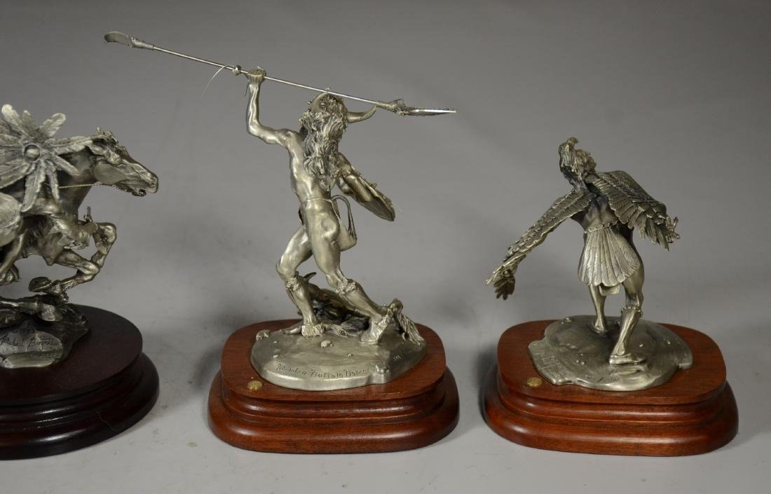 5 Michael Boyette Pewter Native American Sculptures - 3