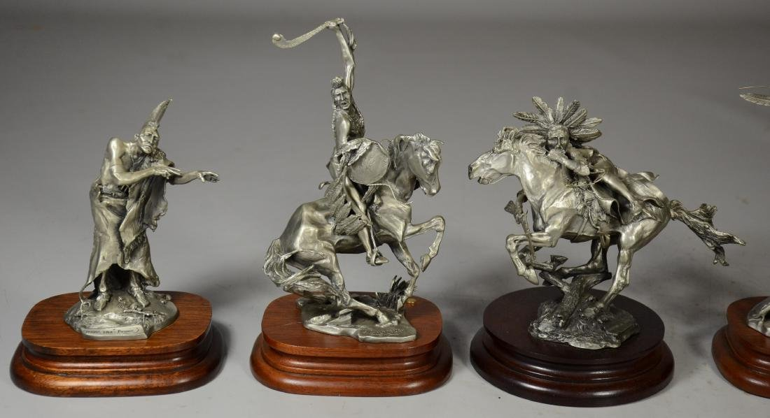 5 Michael Boyette Pewter Native American Sculptures - 4