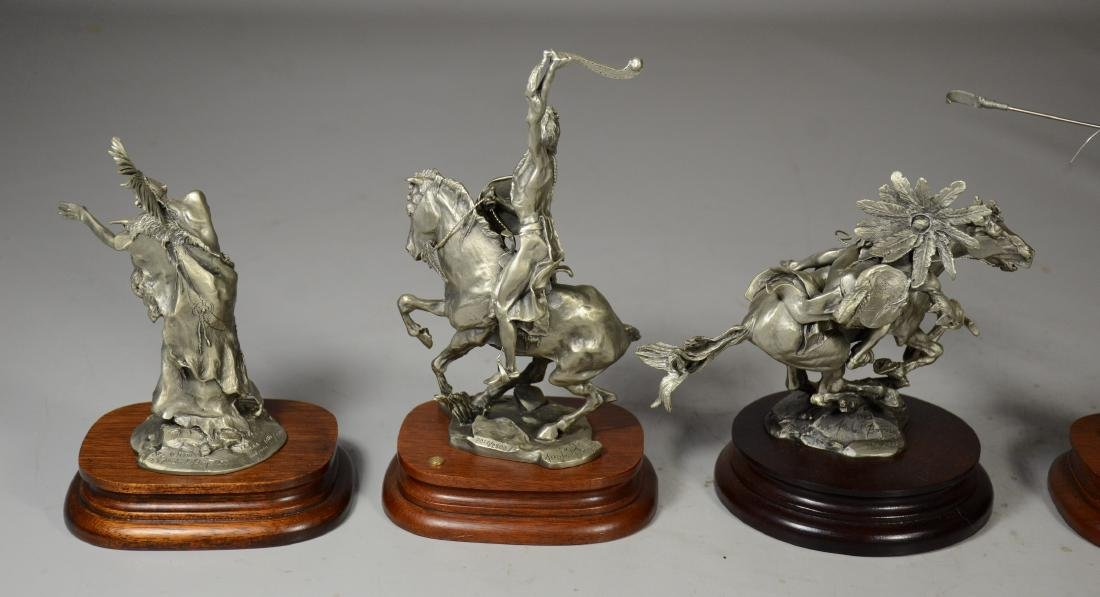 5 Michael Boyette Pewter Native American Sculptures - 5