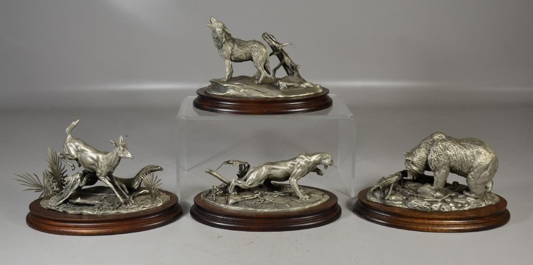 4 Glen Loates Pewter Wildlife sculptures