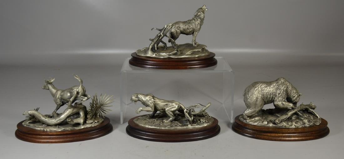 4 Glen Loates Pewter Wildlife sculptures - 2