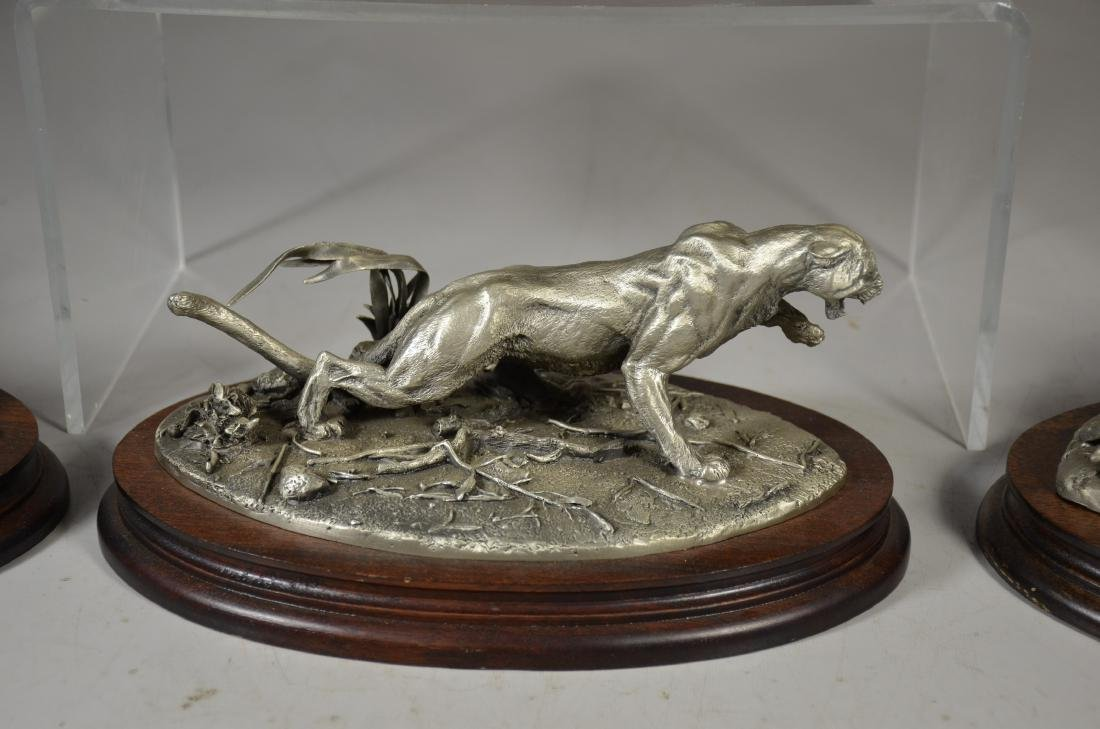 4 Glen Loates Pewter Wildlife sculptures - 4