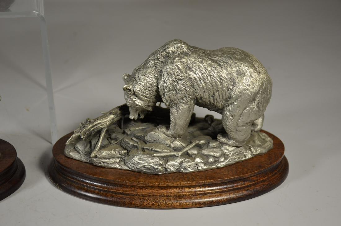 4 Glen Loates Pewter Wildlife sculptures - 5