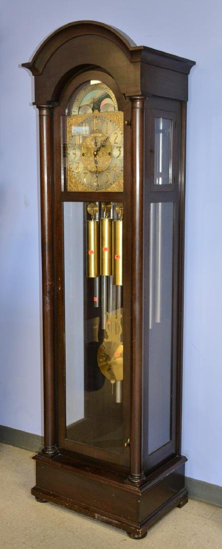 Mahogany Federal Style 9-Tube Chiming Hall Clock