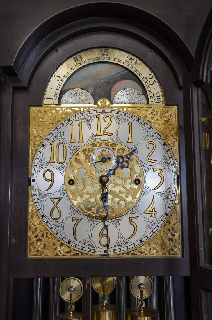 Mahogany Federal Style 9-Tube Chiming Hall Clock - 4