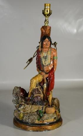 Painted Plaster Native American Figural Lamp