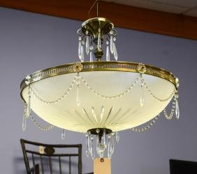 Brass Framed Frosted Crystal Hanging Lamp