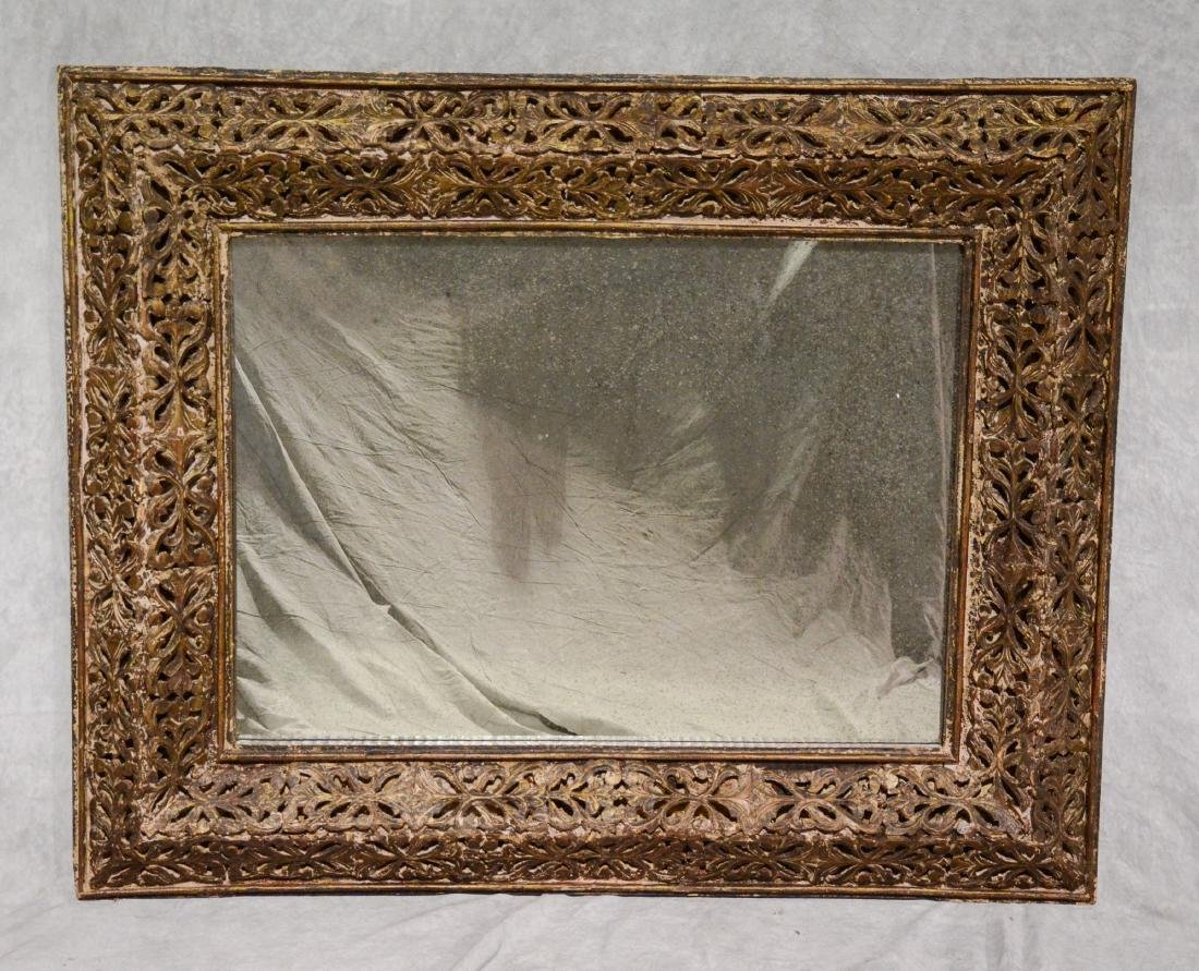 "19th c Italian pierce carved wood wall mirror, 58"" w"