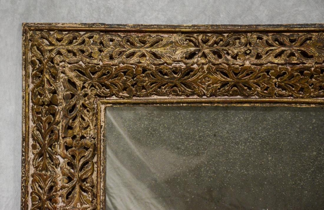 "19th c Italian pierce carved wood wall mirror, 58"" w - 2"