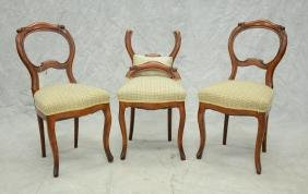 Three Victorian Walnut Balloon Back Side Chairs